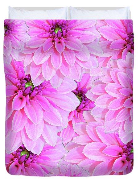 Pink Dahlia Flower Design Duvet Cover