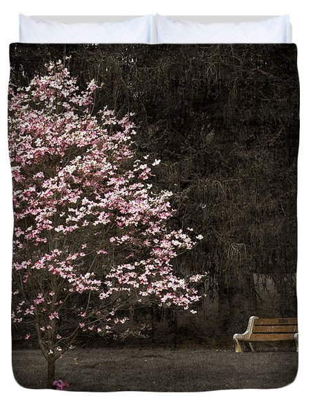 Pink Dogwood Tree And A Bench Duvet Cover