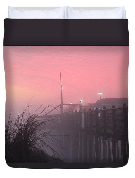 Duvet Cover featuring the photograph Pink Fog At Dawn by Robert Banach