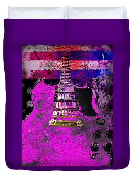 Pink Guitar Against American Flag Duvet Cover