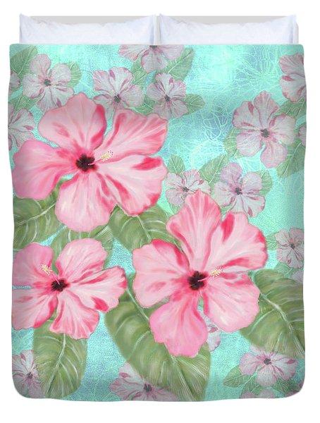 Pink Hibiscus Print On Aqua Duvet Cover