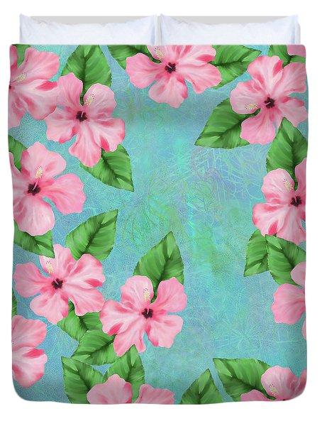 Pink Hibiscus Tropical Floral Print Duvet Cover