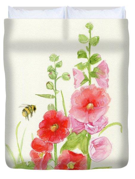 Pink Hollyhock Watercolor Duvet Cover