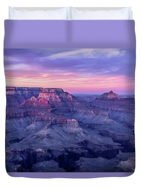 Duvet Cover featuring the photograph Pink Hues Over The Grand Canyon by Dawn Richards