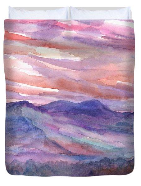 Pink Mountain Landscape Duvet Cover