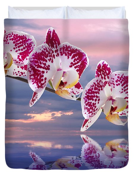 Pink Orchid Spa Sunset Duvet Cover