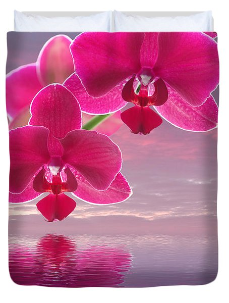 Pink Orchid Sunset Reflections Duvet Cover