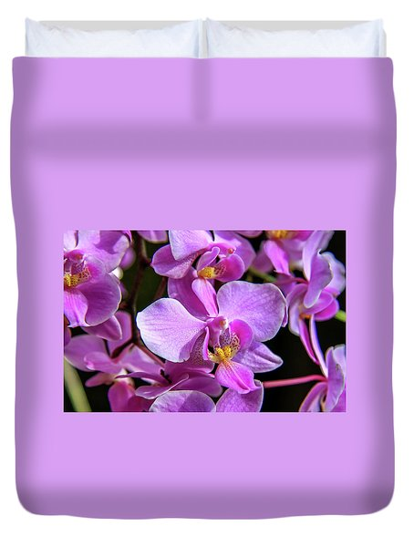Duvet Cover featuring the photograph Pink Orchids by Dawn Richards
