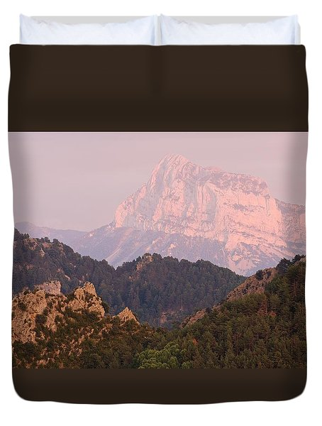 Duvet Cover featuring the photograph Pink Pena Montanesa by Stephen Taylor