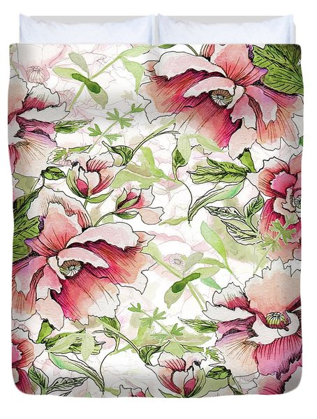 Pink Peony Blossoms Duvet Cover