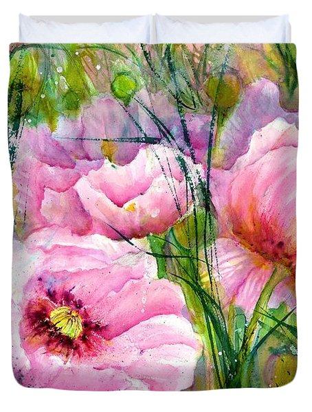 Pink Poppy Flowers Duvet Cover