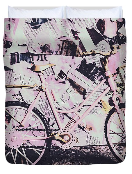 Pink Posterized Pushbike Duvet Cover