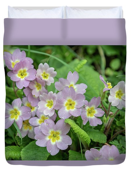Pink Primroses In Devon Duvet Cover