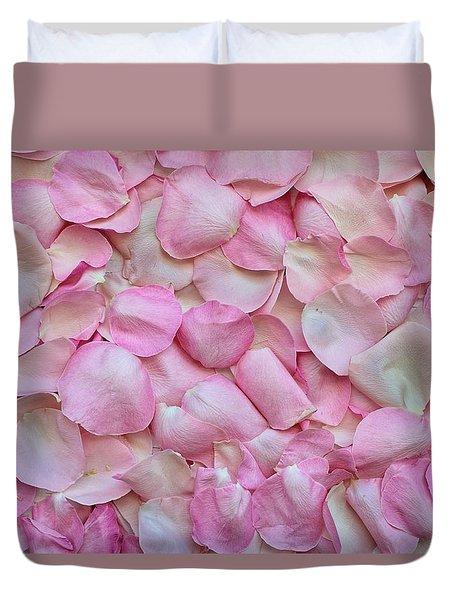 Pink Rose Petals Duvet Cover