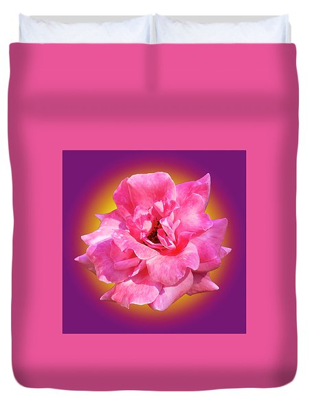 Pink Rose With Background Duvet Cover