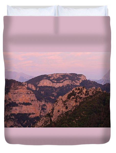 Pink Skies Above Pena Montanesa Duvet Cover