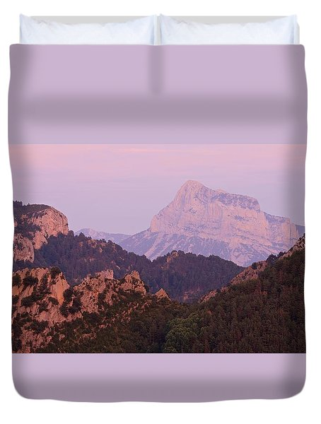 Pink Skies And Alpen Glow In The Anisclo Canyon Duvet Cover