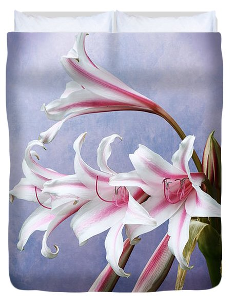 Pink Striped White Lily Flowers Duvet Cover