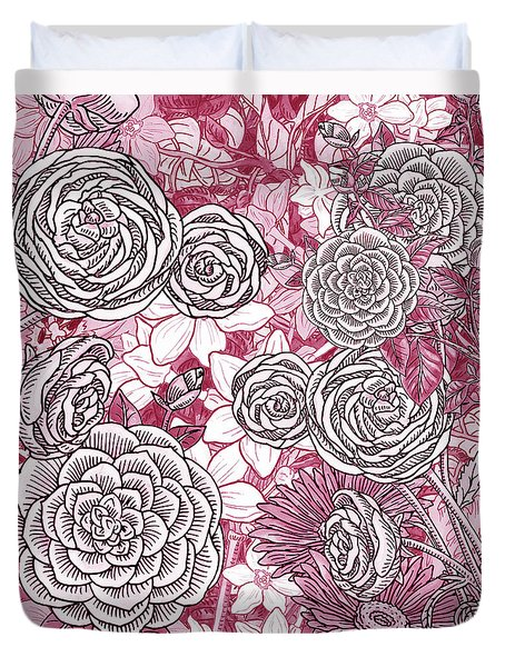 Pink Watercolor Botanical Flowers Garden Flowerbed Iv Duvet Cover