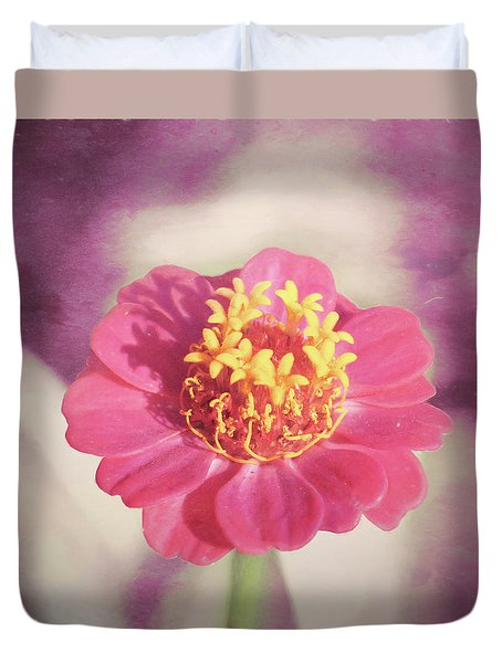 Pink Zinnia Isolated Duvet Cover
