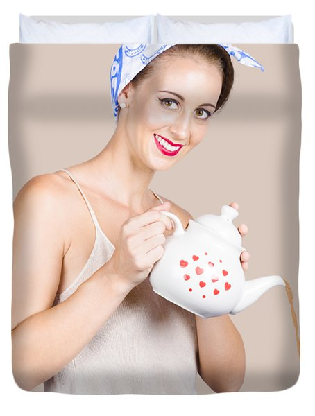 Pinup Girl Pouring Cafe Coffee Duvet Cover