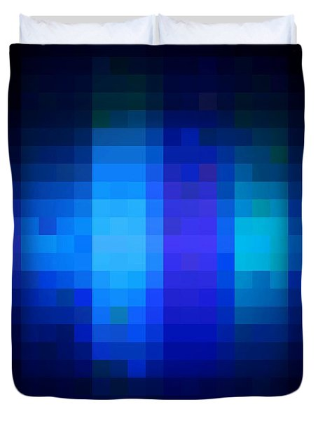 Duvet Cover featuring the digital art Pixelated Moonlit Sky by Rachel Hannah