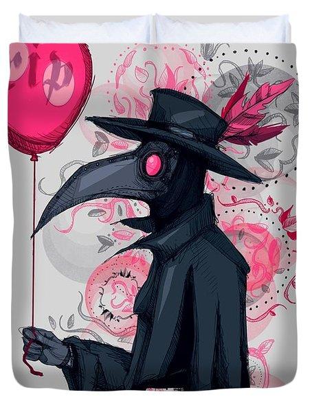 Plague Doctor Balloon Duvet Cover