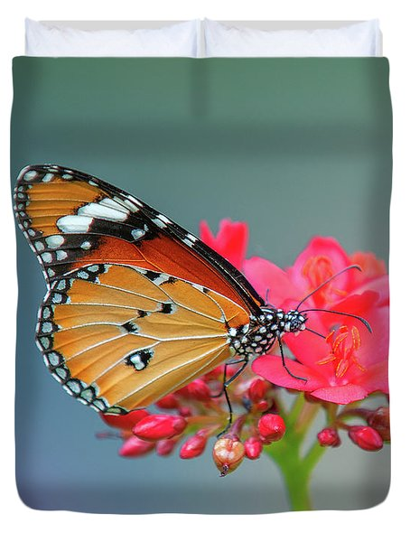 Duvet Cover featuring the photograph Plain Tiger Or African Monarch Butterfly Dthn0246 by Gerry Gantt