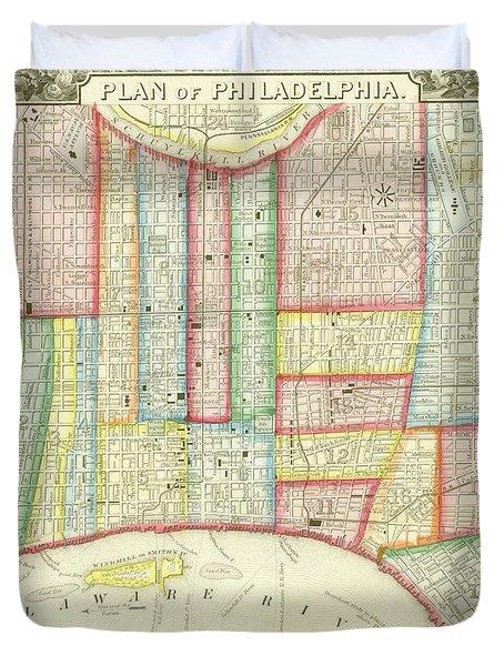 Plan Of Philadelphia, 1860 Duvet Cover