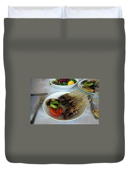 Plate Of Kebabs And Salad For Lunch Duvet Cover