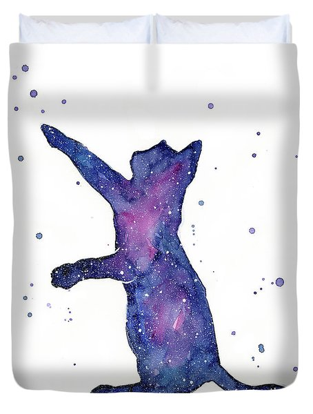 Playful Galactic Cat Duvet Cover