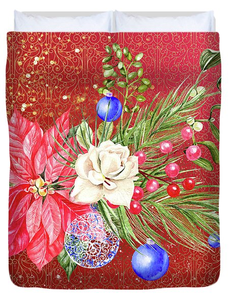 Poinsettia With Blue Ornaments  Duvet Cover