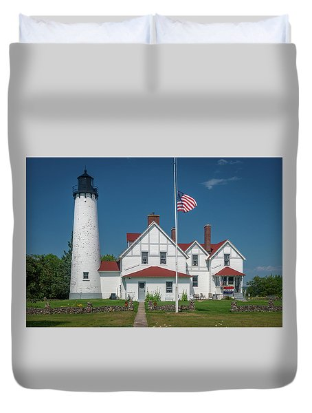 Point Iroquois Lighthouse Duvet Cover