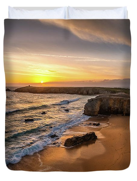 Pointe Du Percho And Port Blanc Duvet Cover