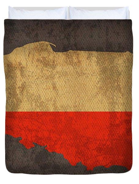 Poland Country Flag Map Duvet Cover
