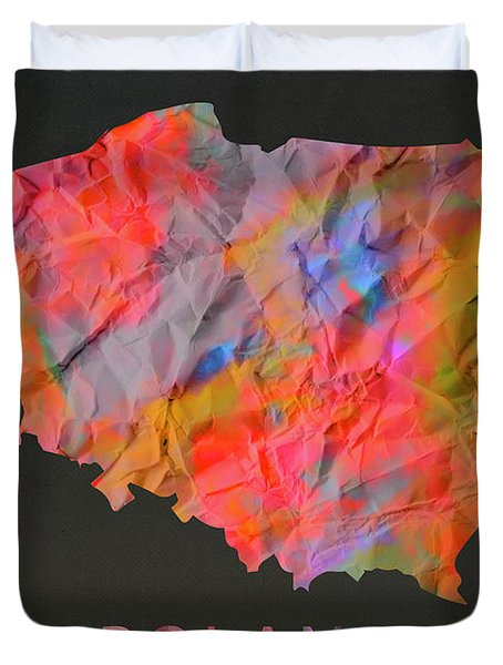 Poland Tie Dye Country Map Duvet Cover