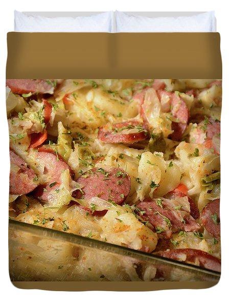 Duvet Cover featuring the photograph Polish Kielbasa Cuisine by Angie Tirado