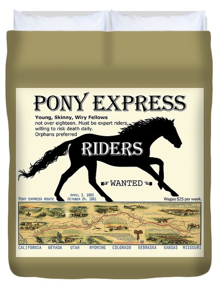 Pony Express Want Ad Duvet Cover
