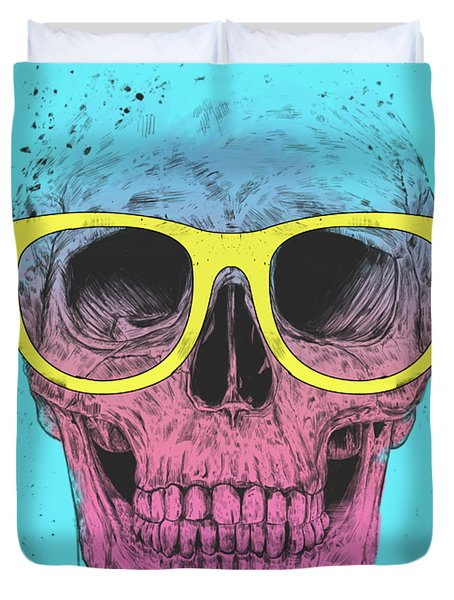 Pop Art Skull With Glasses Duvet Cover