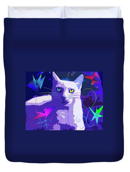 Pop Cat Blue Duvet Cover