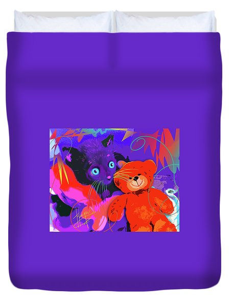 pOp Cat Teddy And His Teddy Duvet Cover