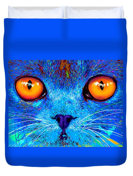 pOpCat Boe - Big Orange Eyes Duvet Cover