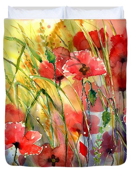 Poppies Bathing In The Sun Duvet Cover