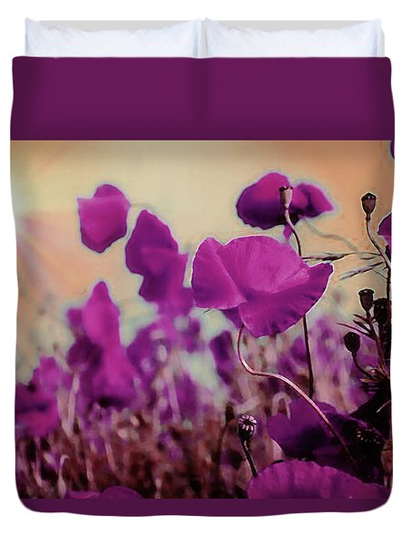 Poppies In Sunlight Duvet Cover