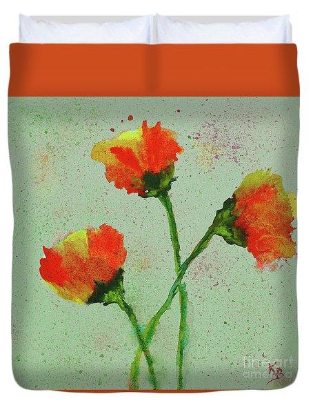 Duvet Cover featuring the painting Poppies by Karen Fleschler