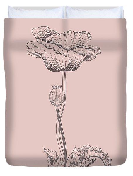 Poppy Blush Pink Flower Duvet Cover