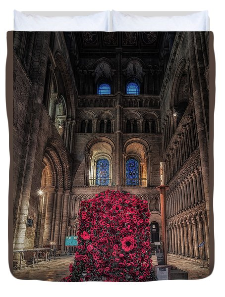 Duvet Cover featuring the photograph Poppy Display At Ely Cathedral by James Billings