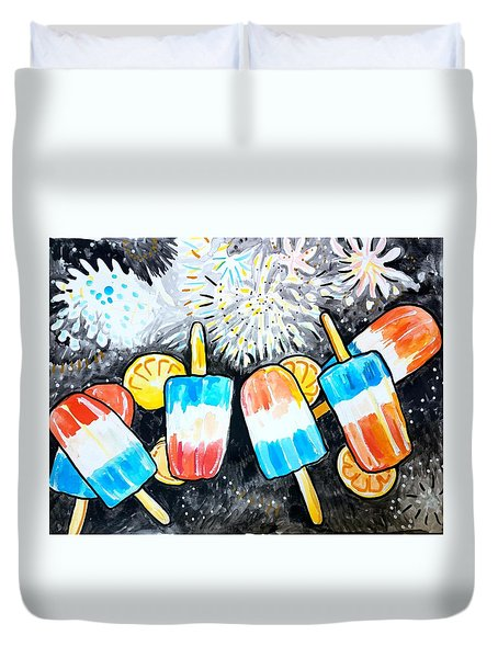 Popsicles And Fireworks Duvet Cover