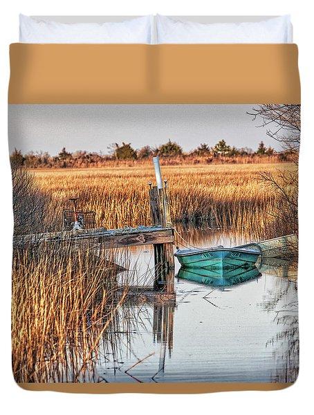 Poquoson Marsh Boat Duvet Cover