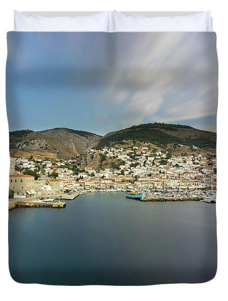 Port At Hydra Island Duvet Cover
